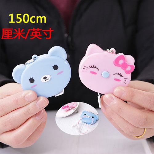 創意便攜式150公分卡通捲尺 迷你量衣尺 小熊小貓造型量 伸縮軟尺