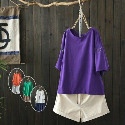 短袖T恤打底衫-簡約刺繡純色百搭女上衣4色73sj45【獨家進口】【米蘭精品】