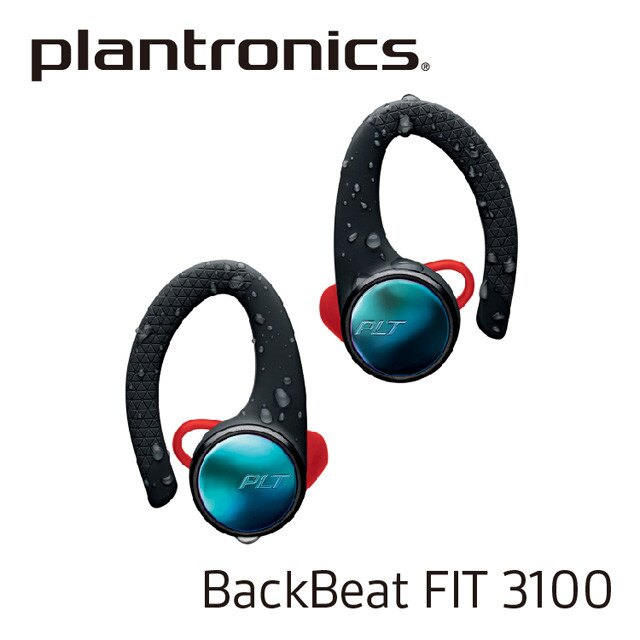 『 Plantronics 繽特力 BackBeat FIT 3100 電光跑酷黑 』真無線運動音樂藍牙耳機/藍芽5.0/13.5mm驅動單元/IP57防塵防水/15小時續航/另售jabra 鐵三角