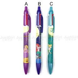 迪士尼 原子筆 自動鉛筆 長髮公主 茉莉公主 小叮噹 雙色三用筆 紅黑 文具 正版日本進口 JustGirl