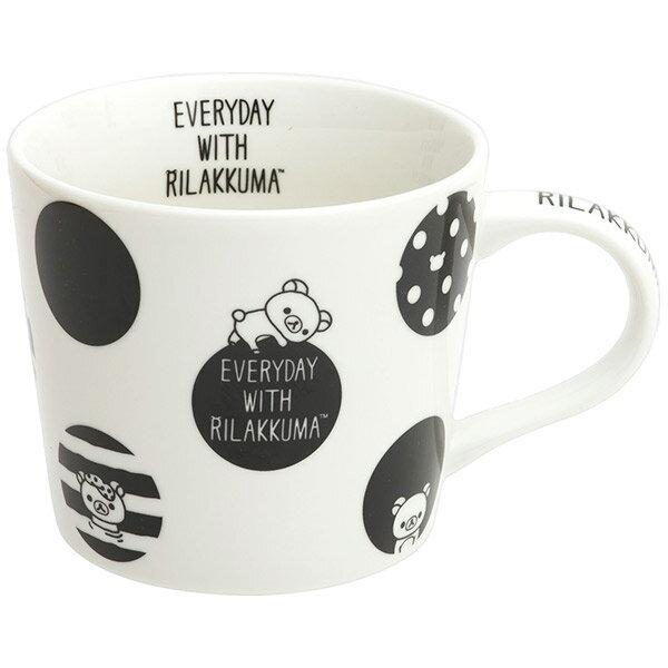 16092200012  馬克杯-懶熊圓點黑白    SAN-X 懶熊  奶熊 拉拉熊  馬克杯 水杯 茶杯 餐具 真愛日本
