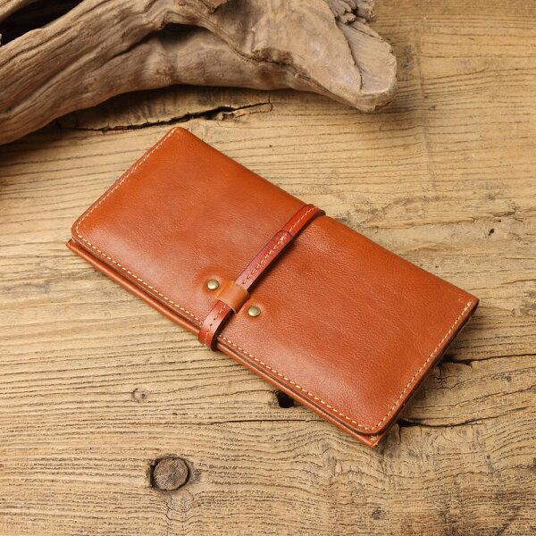 情批復古簡約手作皮革抽帶式長夾零錢袋