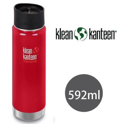 【【蘋果戶外】】KleankanteenK20VWPCC-MR紅【寬口20oz592ml】美國不鏽鋼水瓶原色休閒水壺自行車水壺