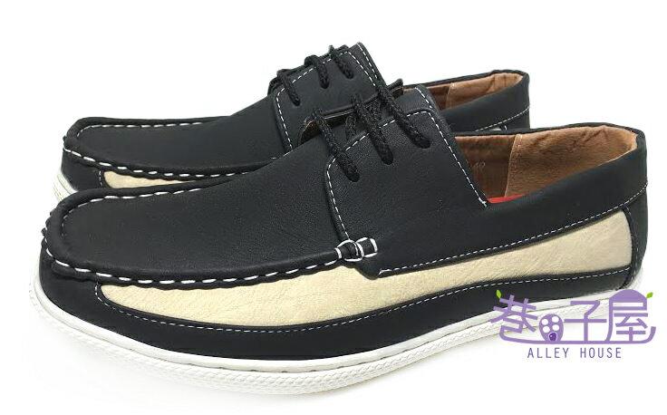 【巷子屋】DARK KNIGHT 男款奶油拼色繫帶休閒鞋 [99012] 黑 超值價$398