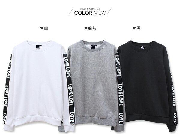 ☆BOY-2☆ 【KK6857】素面圓領LOVE字母滾邊大學T 1