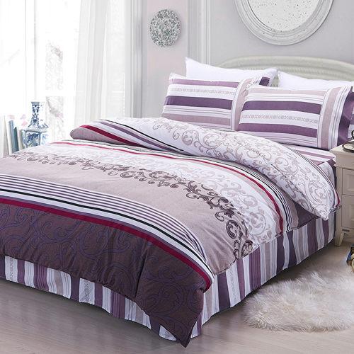 柔絲絨 六件式鋪棉兩用被床罩組-貝薇雅/加大/ 哇哇購