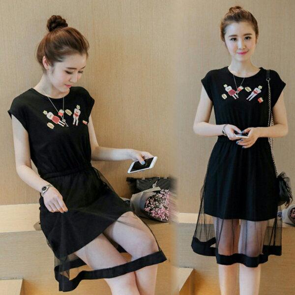 糖衣子輕鬆購【GH8036】韓版時尚百搭印花網紗拼接連身裙