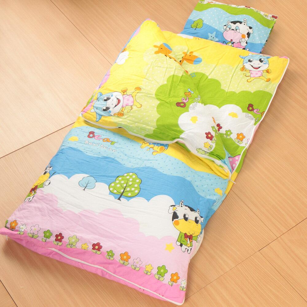 床之戀嚴選 純棉被套可拆式被胎四季兒童睡袋毯附枕心~可愛牛博士(MJ0537)