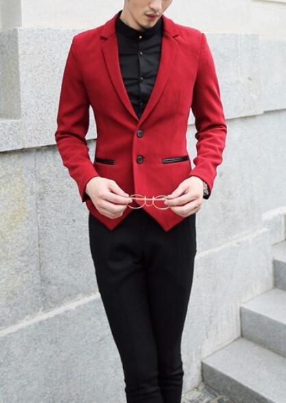 FINDSENSE品牌 韓國男 垂感 燕尾下擺 小西裝 修身西裝 西裝外套 單件外套