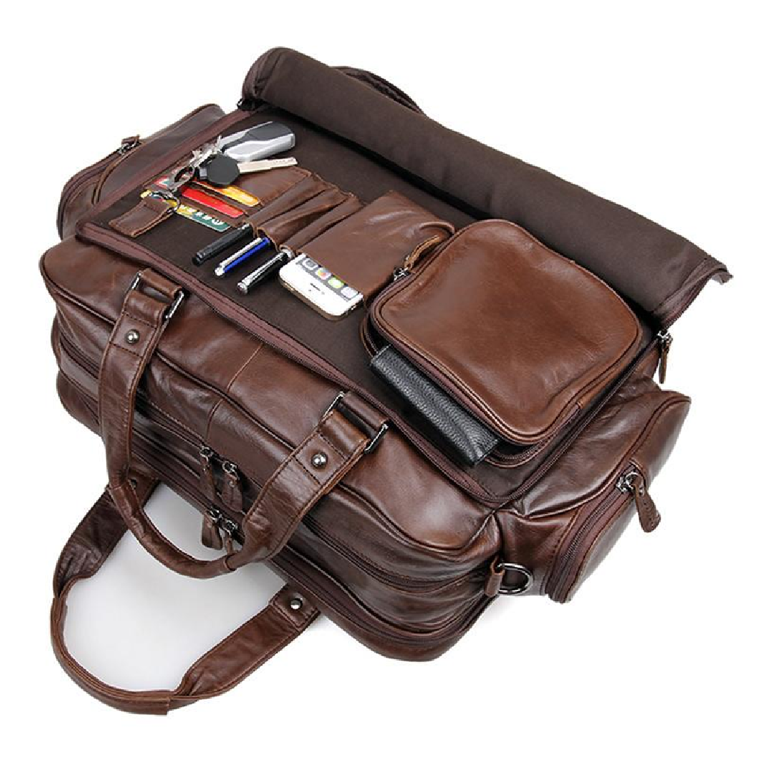 fec2f5b7b9c37 Bag Leather Real Briefcase Messenger Laptop Vintage Satchel 16 Men Shoulder  S Brown New Business Handmade