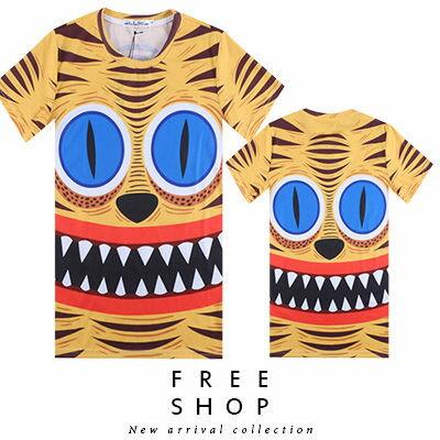 Free Shop~QFSLY3309~日韓美式 老虎臉部特寫滿版印花圓領棉質短T短袖上衣