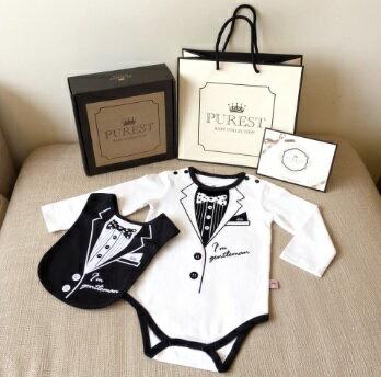 PUREST baby collection長袖【衣漾兜很帥】禮盒組 (包屁衣+圍兜) 0