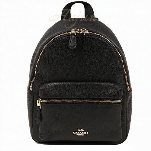COACH 38263 荔枝紋浮雕Logo 全牛皮 拉鍊 小款後背包 書包