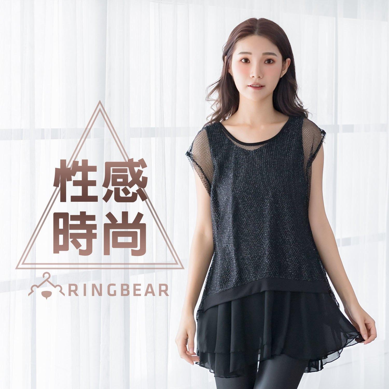 假二件--彈性亮面網紗連袖氣質圓領假兩件雪紡連身裙(黑XL-3L)-U504眼圈熊中大尺碼 0