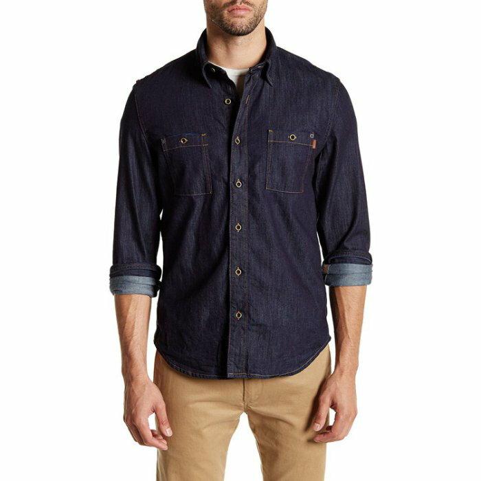 美國百分百【全新真品】Timberland 大樹牌 長袖 丹寧 牛仔 襯衫 男款 口袋 上衣 深藍色 S號 I551