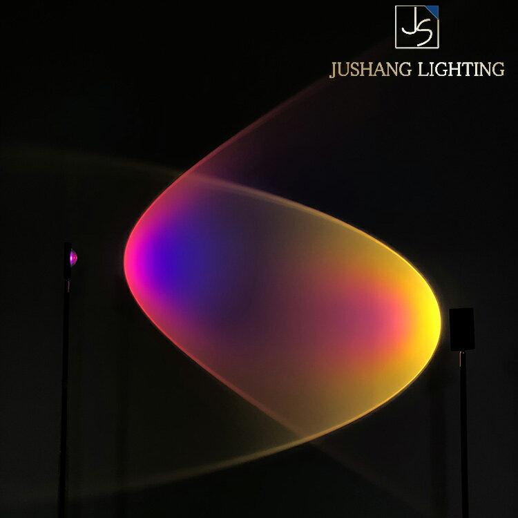 意大利客廳創意個性背景墻裝飾落地燈立式彩虹光投影日不落地燈