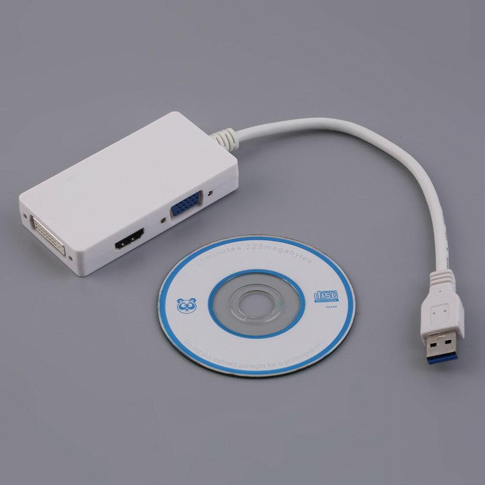 3合1多 USB 3.0到HDMI DVI VGA高清視頻轉換器