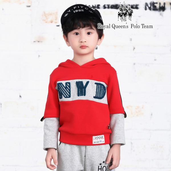 兒童紅色拼接長袖厚棉刷毛帽T RQ POLO 小童秋冬款 [85327]