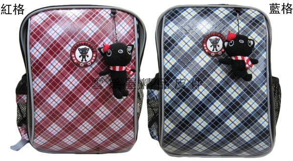 ~雪黛屋~UNME後背書包可A4資料夾護脊透氣超輕防水特多龍格子台灣製造品質保證附品牌貓吊飾低幼年級適用U3212B