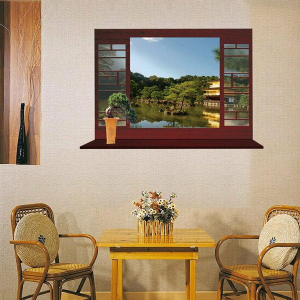 BO雜貨【YV0566】DIY可重複貼 牆貼壁紙 創意無痕璧貼 假窗 中國風 3D立體窗景 風景MJ8018