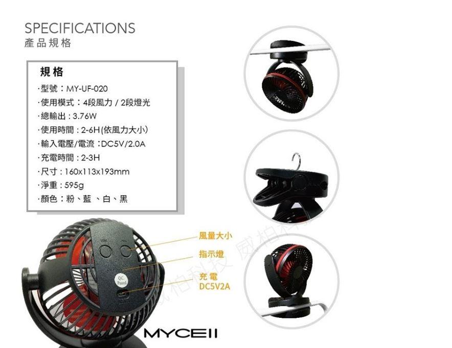 清涼一夏 MIT 夾式多功能靜音風扇 採用BSMI認證日本電芯