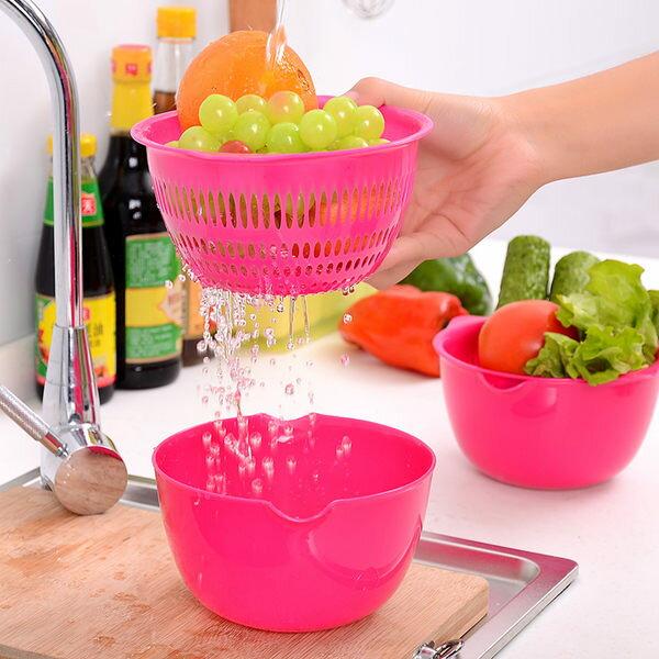♚MYCOLOR♚炫彩迷你雙層瀝水籃濾水洗菜滴水篩洗菜籃清洗瀝乾過濾蔬果多用【S39-2】