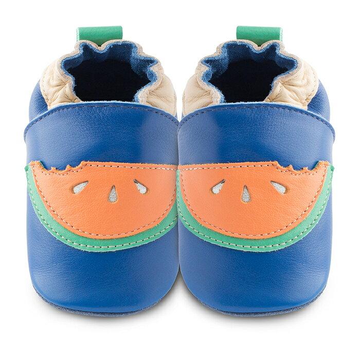 【hella 媽咪寶貝】英國 shooshoos 安全無毒真皮手工鞋/學步鞋/嬰兒鞋 被咬一口的西瓜(公司貨)