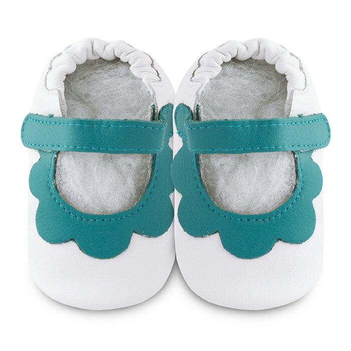 【hella 媽咪寶貝】英國 shooshoos 安全無毒真皮手工鞋/學步鞋/嬰兒鞋 白色/薄荷綠荷葉 GVWH39S (公司貨)