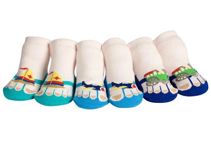 【hella 媽咪寶貝】美國 Jazzy Toes 時尚造型棉襪/止滑襪/假鞋襪 三入禮盒組 交通工具組(JT3-06)