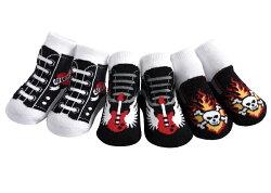 【hella  媽咪寶貝】美國 Jazzy Toes 時尚造型棉襪/止滑襪/假鞋襪/嬰兒襪三雙入禮盒組_搖滾Rock造型襪(JT3-08)