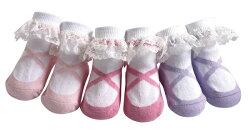 【hella  媽咪寶貝】美國 Jazzy Toes 時尚造型棉襪/止滑襪/假鞋襪/嬰兒襪_三雙入禮盒組_蕾絲芭蕾舞造型襪(JT3-01)