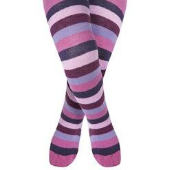 【愛寶貝】英國 JoJo Maman BeBe 花漾嬰幼兒小童內搭褲襪/保暖襪_粉紫條紋 (JJL015)