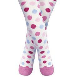【愛寶貝】英國 JoJo Maman BeBe 花漾嬰幼兒小童內搭褲襪/保暖襪_米白繽粉點點 (JJL013)
