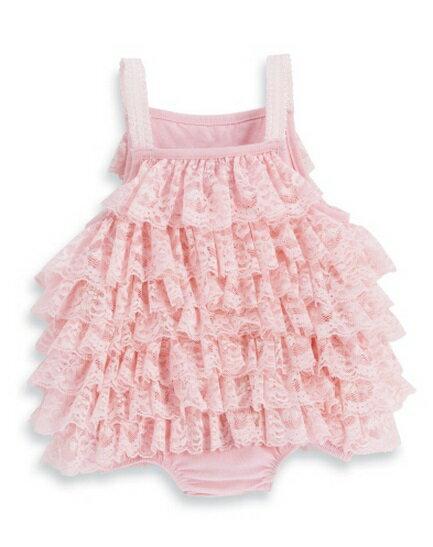 【HELLA 媽咪寶貝】美國 Mud Pie 時尚嬰幼兒童洋裝 粉色蕾絲包屁衣/洋裝 (附贈小鑽花朵髮帶)