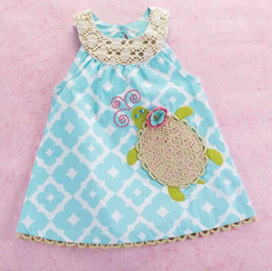 【HELLA 媽咪寶貝】美國 Mud Pie 時尚嬰幼兒童洋裝 可愛烏龜天空藍 (嬰幼兒)