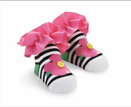 【HELLA 媽咪寶貝】美國 Mud Pie 時尚造型棉襪/止滑襪/假鞋襪/嬰兒襪 條紋造型(MPSG1-16)
