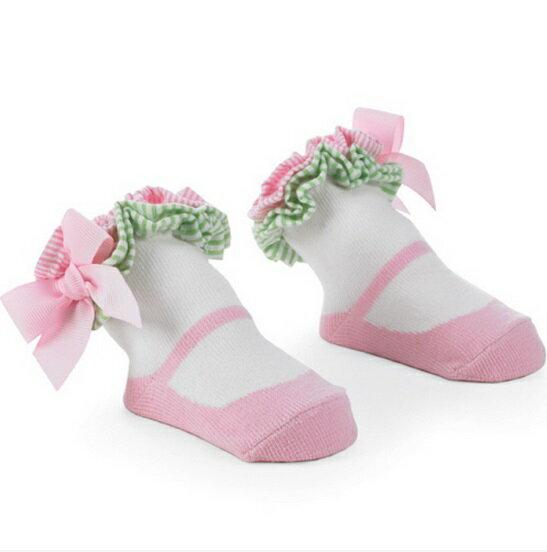 【HELLA 媽咪寶貝】美國 Mud Pie 時尚造型棉襪/止滑襪/假鞋襪/嬰兒襪 粉綠花邊造型(MPSG1-14)