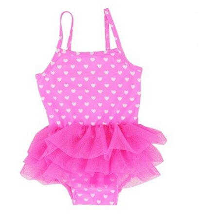 【hella 媽咪寶貝】美國 RuffleButts 小女童比基尼泳裝 熱情粉仙女愛心小澎裙 (RBSW04-04)