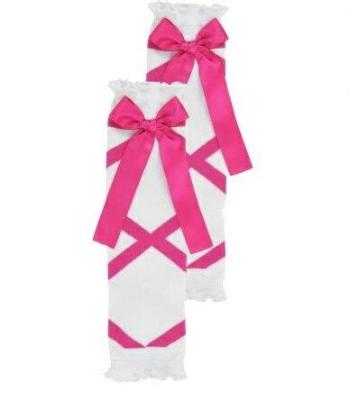 【hella 媽咪寶貝】美國 RuffleButts 小女童甜美荷葉襪套 桃紅芭蕾蝴蝶結(RBLW026)