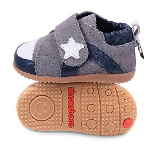 ~hella 媽咪寶貝~英國 shooshoos 健康無毒真皮 小童鞋_灰色小星星_#SM