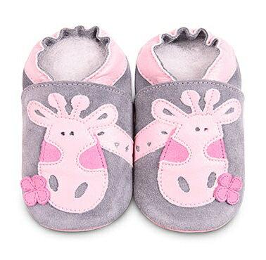 【HELLA 媽咪寶貝】英國 shooshoos 安全無毒真皮手工鞋/學步鞋/嬰兒鞋_灰色長頸鹿 (公司貨)