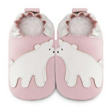 【HELLA 媽咪寶貝】英國 shooshoos 安全無毒真皮手工鞋/學步鞋/嬰兒鞋 淡粉/北極熊(公司貨)