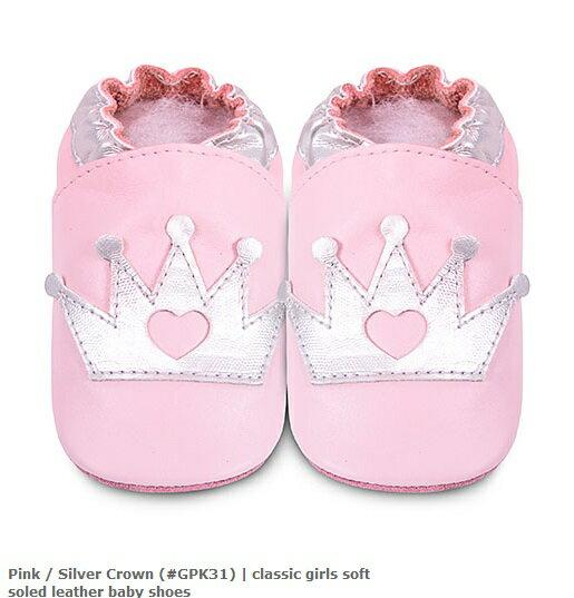 【hella 媽咪寶貝】英國 shooshoos 安全無毒真皮手工鞋/學步鞋/嬰兒鞋 淡粉銀皇冠 (公司貨)
