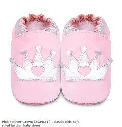 【愛寶貝】英國 shooshoos 安全無毒真皮手工鞋/學步鞋/嬰兒鞋/室內鞋/室內保暖鞋_淡粉銀皇冠 (公司貨)