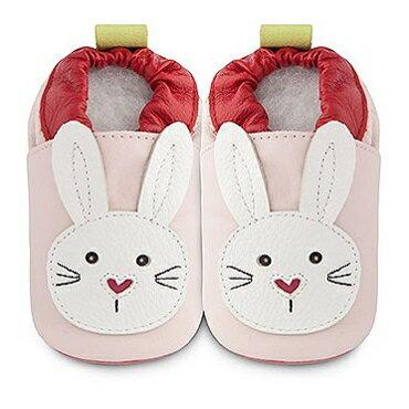 【HELLA 媽咪寶貝】英國 shooshoos 安全無毒真皮手工鞋/學步鞋/嬰兒鞋_淡粉/白色小兔(公司貨)
