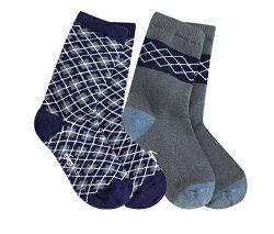 【hella 媽咪寶貝】美國 see kai run 有機襪/純棉襪/寶寶襪子/兒童襪子_灰色與藍色格菱紋(SKR07)
