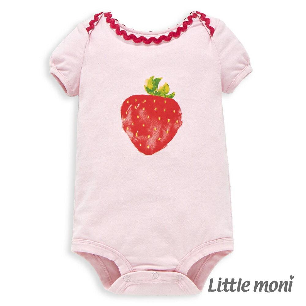 Little moni 水彩暈染草莓包屁衣 - 粉紅