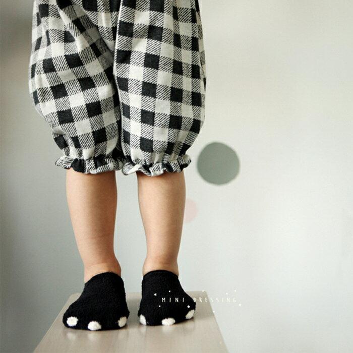 ~hella 媽咪寶貝~韓國 Mini Dressing 嬰幼兒  小童短襪_黑色熊掌
