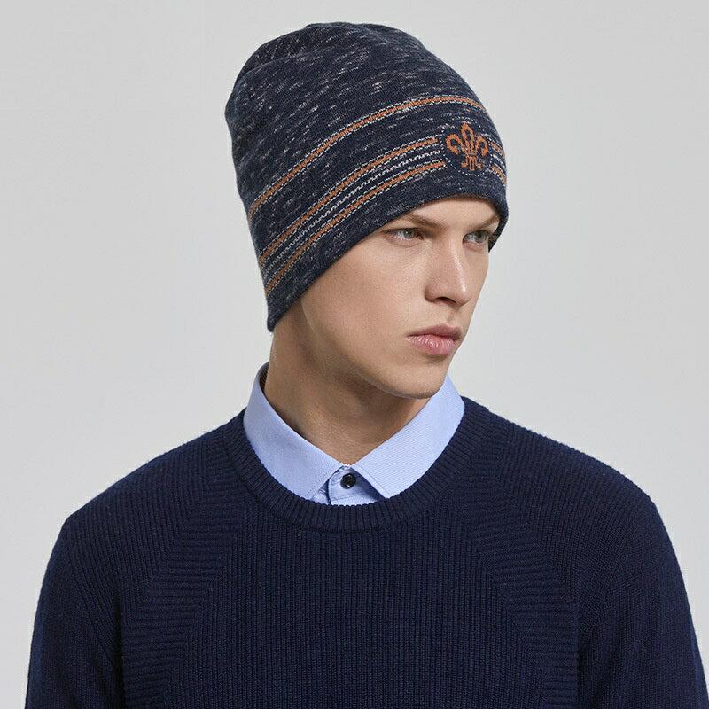 毛帽羊毛針織帽-護耳條紋提花捲邊男帽子2色73wj32【獨家進口】【米蘭精品】 1