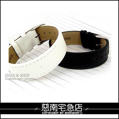 惡南宅急店【3476A】韓版高質感『素面質感皮革手環』可當對鍊錶扣設計。單條區(2色)